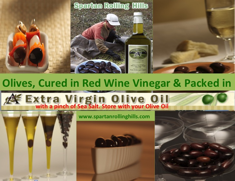 Spartan gourmet olives in EVOO from Spartan Rolling Hills